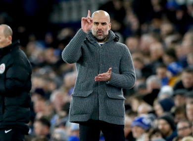 Guardiola on the touchline at Goodison tonight.