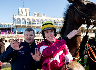 Gordon Elliott and Jack Kennedy celebrate winning the race with Apple's Jade.