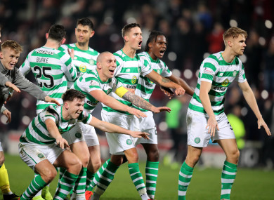 Celtic's players celebrate after full-time.
