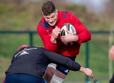 Jack O'Donoghue in training with Munster today.