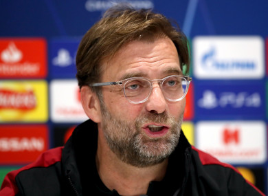 Jurgen Klopp speaking at the pre-match press conference.