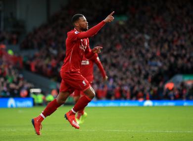 Georginio Wijnaldum celebrates his goal for Liverpool.