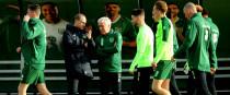 Martin O'Neill with Ireland kit-man Mick Lawlor.