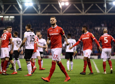Alexander Milosevic celebrates at the final whistle.