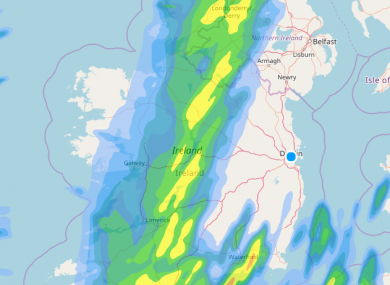A rainfall forecast for 9pm tonight.