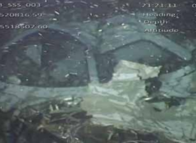 The wreckage of the place was found at a depth of 68 metres.