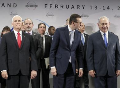 Left to right: United States Vice President Mike Pence, Mateusz Morawiecki, and  Benjamin Netanyahu during
