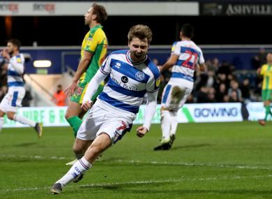 Luke Freeman celebrates giving QPR the lead on Tuesday night.
