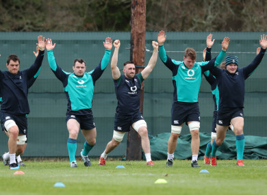 Quinn Roux, Cian Healy, Jack Conan, Jordi Murphy and Jacob Stockdale warming up in Maynooth today.