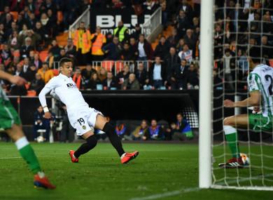 Rodrigo Moreno scores against Real Betis.