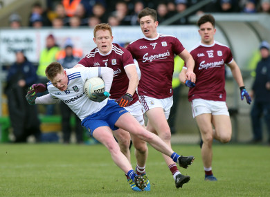 Monaghan's Ryan McAnespie with Galway's Ciaran Duggan.