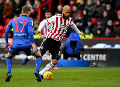 David McGoldrick in action against Bolton today.