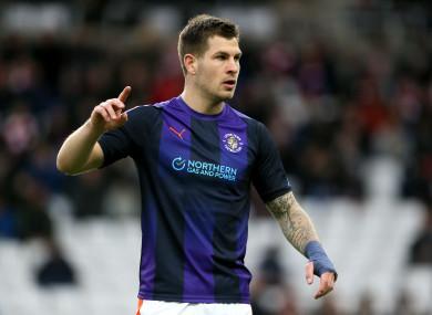 Luton Town striker James Collins.