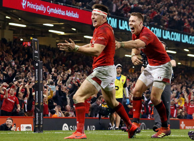 Josh Adams celebrates after touching down at the death against England.