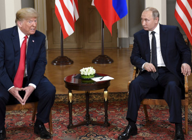 Trump and Putin at a meeting in Helsinki.