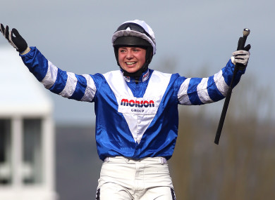 Bryony Frost celebrates victory in the Ryanair Chase aboard Frodon.