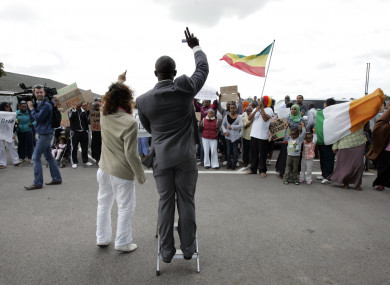 Asylum seekers protest at Mosney, Co Meath in 2010.