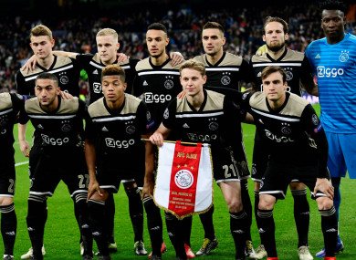 The Ajax team who demolished European champions Real Madrid at the Bernabeu.