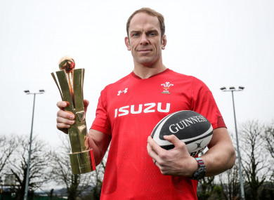 Alun Wyn Jones shows off his award after being selected as the top performer in the 2019 Six Nations.
