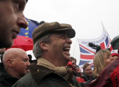 Nigel Farage joins at the start of the first leg of March to Leave in Sunderland, England
