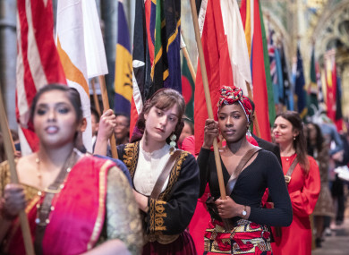 Flag bearers during the Commonwealth Service at Westminster.