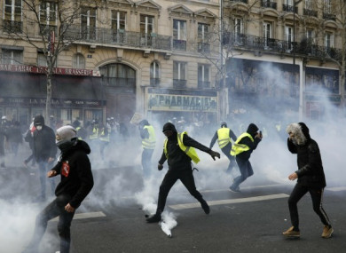 Teargas is used to disperse demonstrators during minor clashes with police in Paris last week.