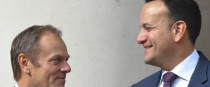 Taoiseach Leo Varadkar and European Council President Donald Tusk at a meeting yesterday.