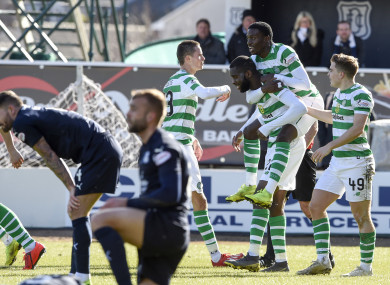 Edouard celebrates his last-gasp winner on Sunday.