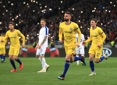 Chelsea's Olivier Giroud scored a hat trick in Ukraine.