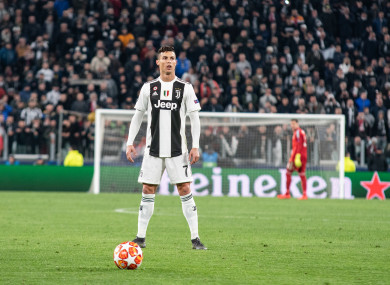 Cristiano Ronaldo lining out for Juventus in the Champions League.