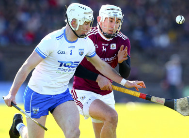 Galway's Jason Flynn and Waterford's Shane McNulty in action last weekend.