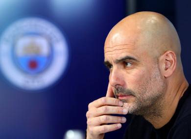 Manchester City manager Pep Guardiola during the press conference at the City Football Academy.