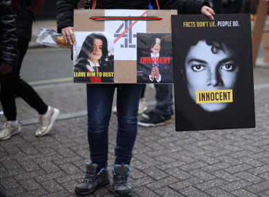 Michael Jackson fans stage a protest outside the headquarters of Channel 4.