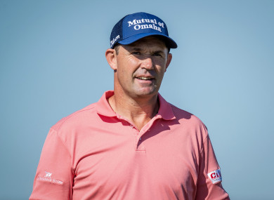 Harrington is competing in his first tournament since suffering a broken wrist.