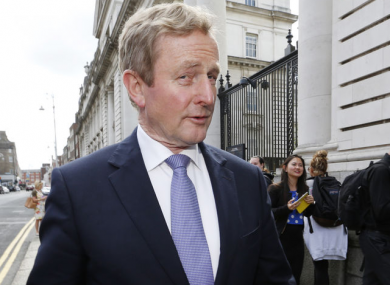 Enda Kenny outside Government Buildings in Dublin.