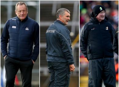John Meyler, Liam Sheedy and Brian Cody take their sides into action on Sunday.