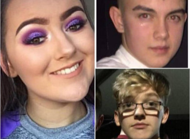 Lauren, Conor (top right) and Morgan (bottom right) died in the crush at the St Patrick's day disco.