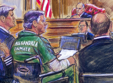 This courtroom sketch depicts Paul Manafort, centre, during his sentencing hearing yesterday.