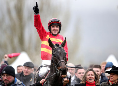 Ruby Walsh celebrates after Klassical Dream's victory in the Supreme Novices Hurdle.