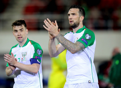 Ireland's Seamus Coleman and Shane Duffy after the game.