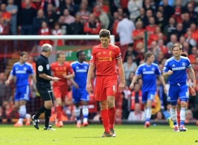 Steven Gerrard looks dejected after Chelsea score the winner at Anfield in 2014.