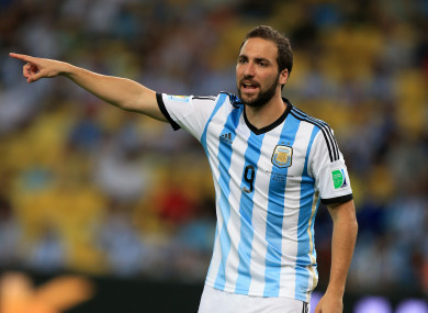 Higuain pictured at the 2014 World Cup.