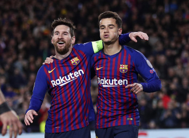 Messi and Coutinho were both on target on Wednesday.