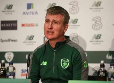 Stephen Kenny at a press conference today.