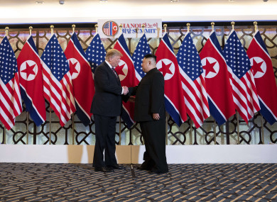 US President Donald Trump and North Korean leader Kim Jong Un during at Hanoi summit
