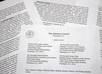 A copy of a letter from Attorney General William Barr advising Congress of the findings of the Mueller probe.