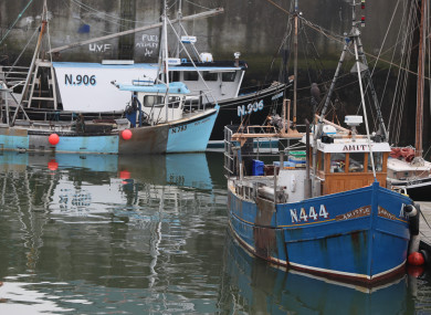 The two Northern Irish vessels that were seized - Boy Joseph (centre) and Amity (right) - moored in Kilkeel Harbour in Co Down.