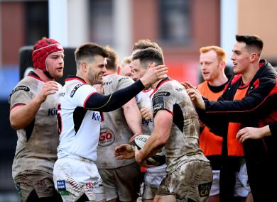 Ulster celebrate John Cooney's try.