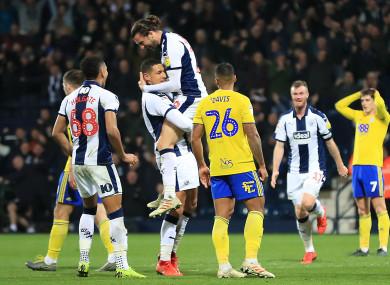 Jake Livermore celebrates scoring West Brom's third goal.