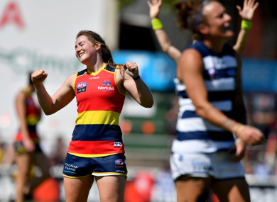 Ailish Considine of the Adelaide Crows reacts on the final siren following the Round 3 AFLW match between the Crows and the Geelong Cats in February.